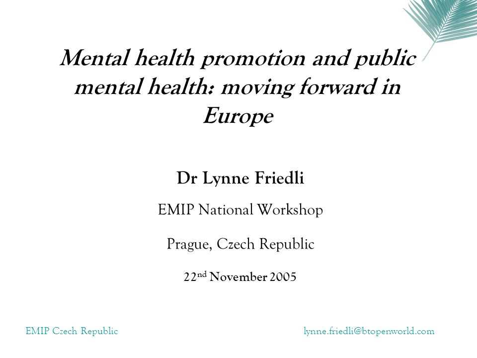 Dr Lynne Friedli EMIP National Workshop Prague, Czech Republic
