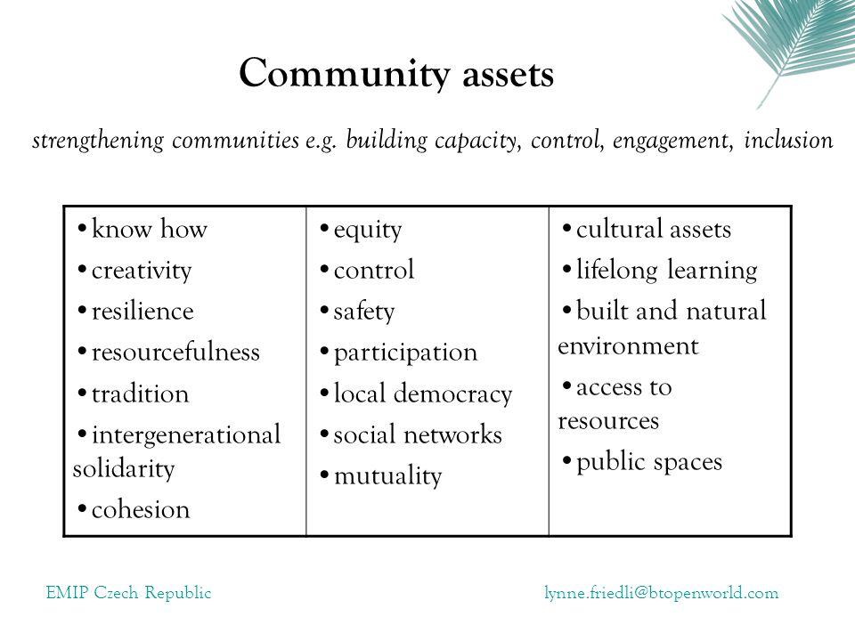 Community assets strengthening communities e.g. building capacity, control, engagement, inclusion. know how.