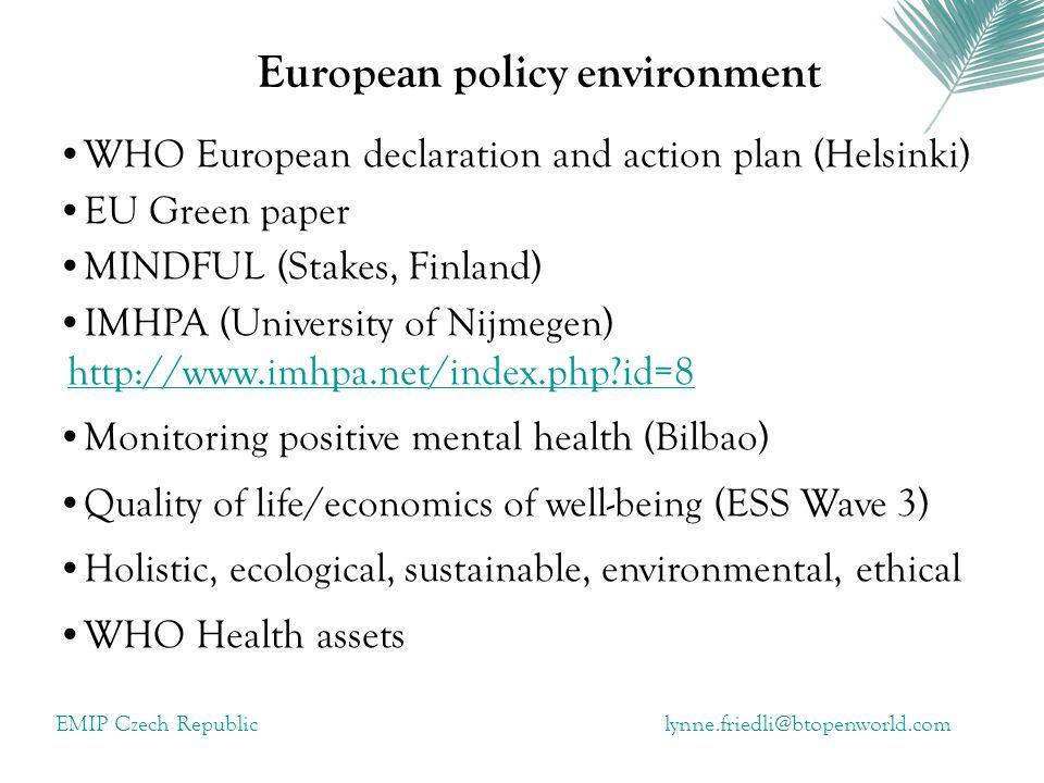 European policy environment