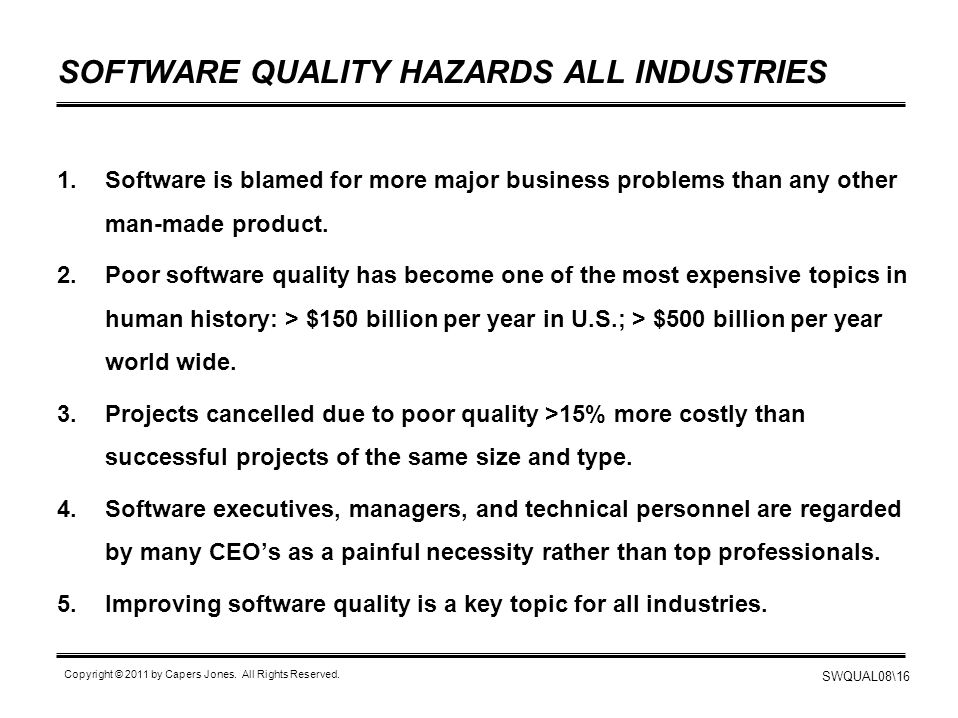 SOFTWARE QUALITY HAZARDS ALL INDUSTRIES