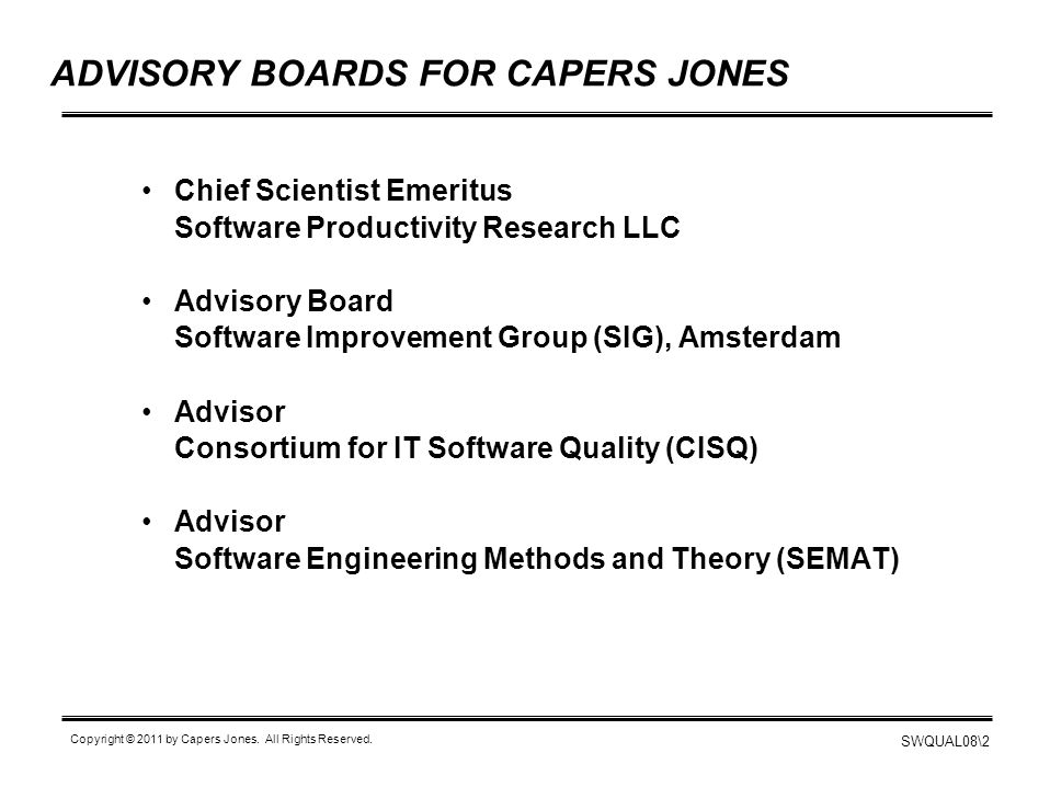 ADVISORY BOARDS FOR CAPERS JONES