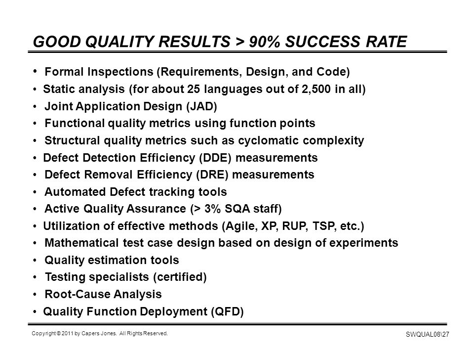 GOOD QUALITY RESULTS > 90% SUCCESS RATE