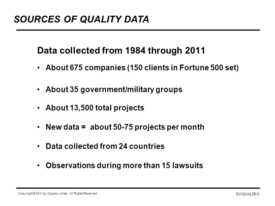 SOURCES OF QUALITY DATA