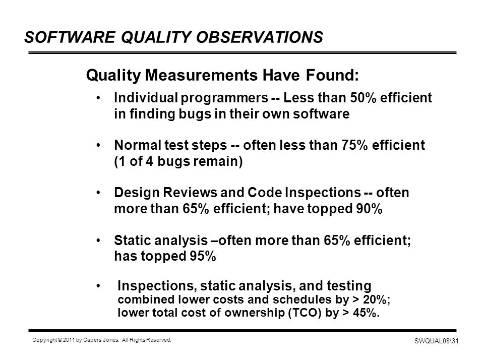 SOFTWARE QUALITY OBSERVATIONS