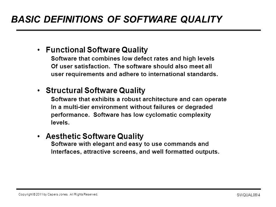 BASIC DEFINITIONS OF SOFTWARE QUALITY
