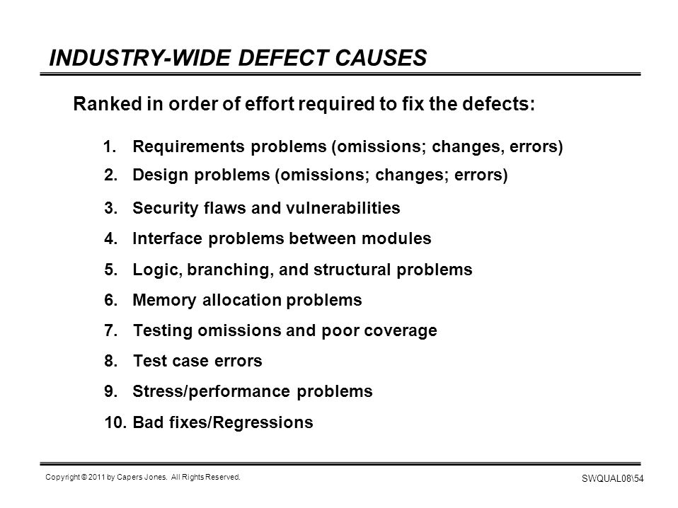 INDUSTRY-WIDE DEFECT CAUSES