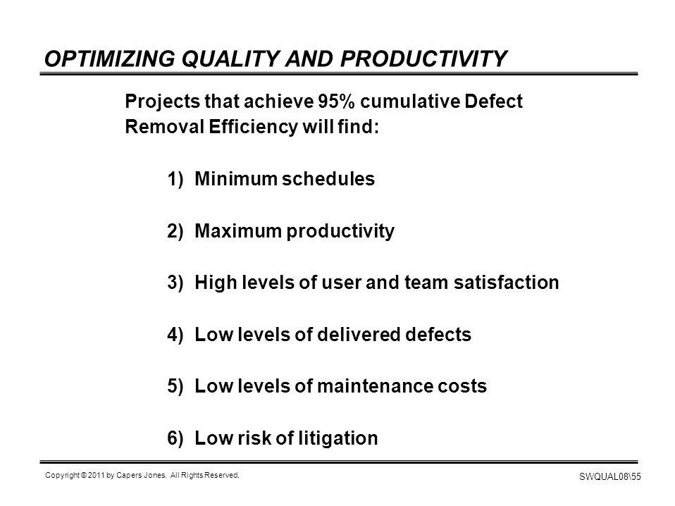 OPTIMIZING QUALITY AND PRODUCTIVITY