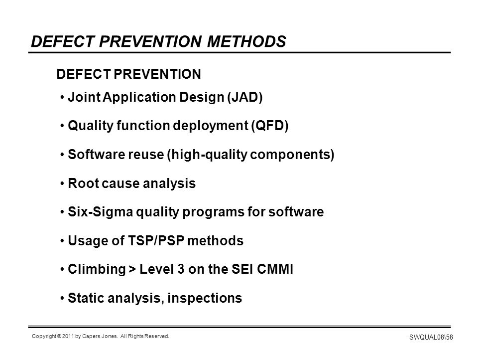 DEFECT PREVENTION METHODS