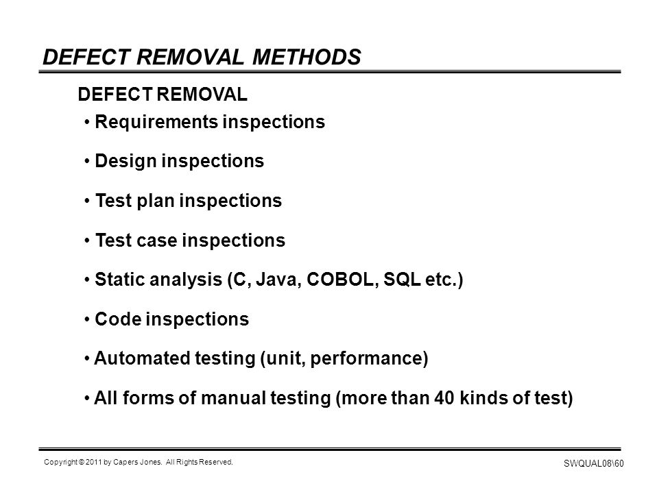 DEFECT REMOVAL METHODS