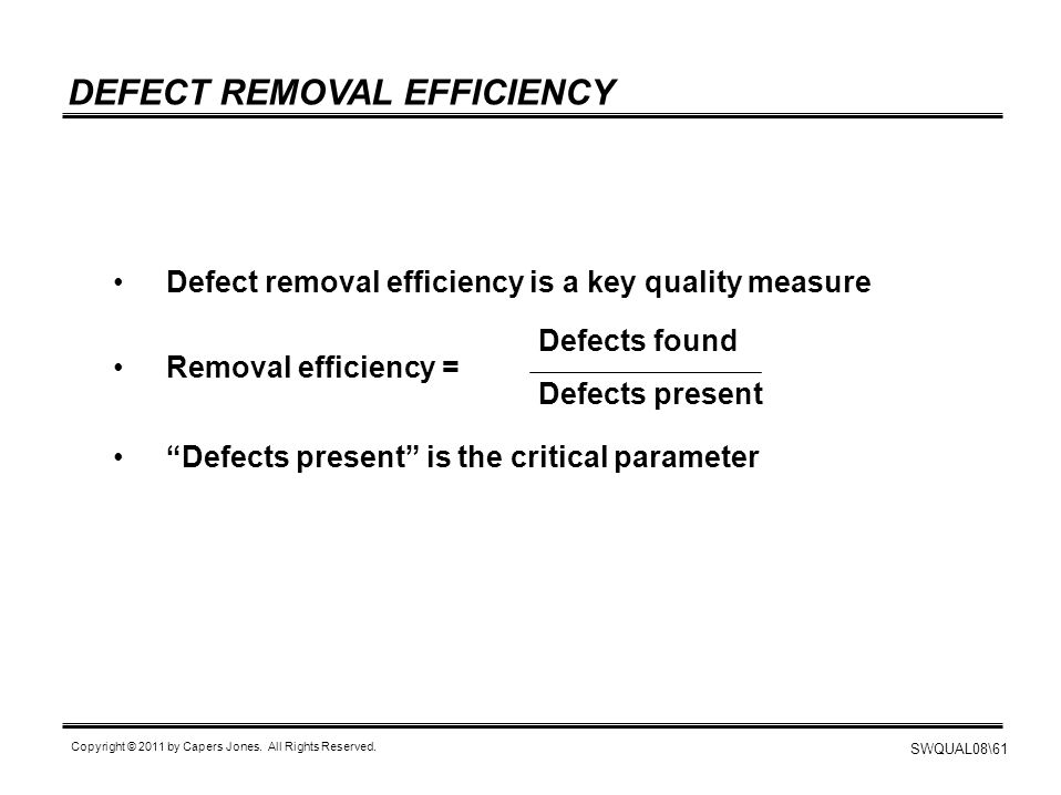 DEFECT REMOVAL EFFICIENCY
