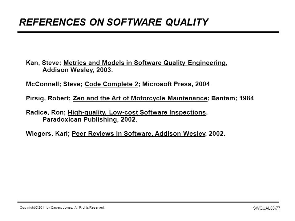 REFERENCES ON SOFTWARE QUALITY