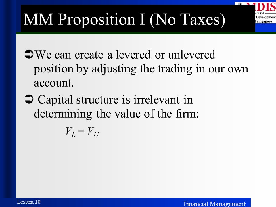 MM Proposition I (No Taxes)