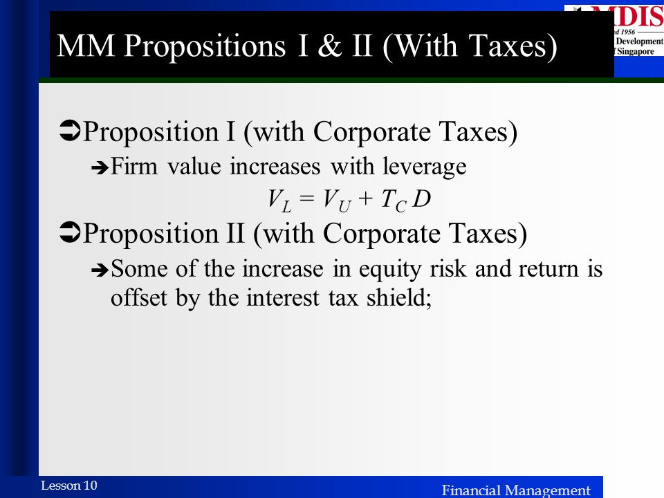 MM Propositions I & II (With Taxes)