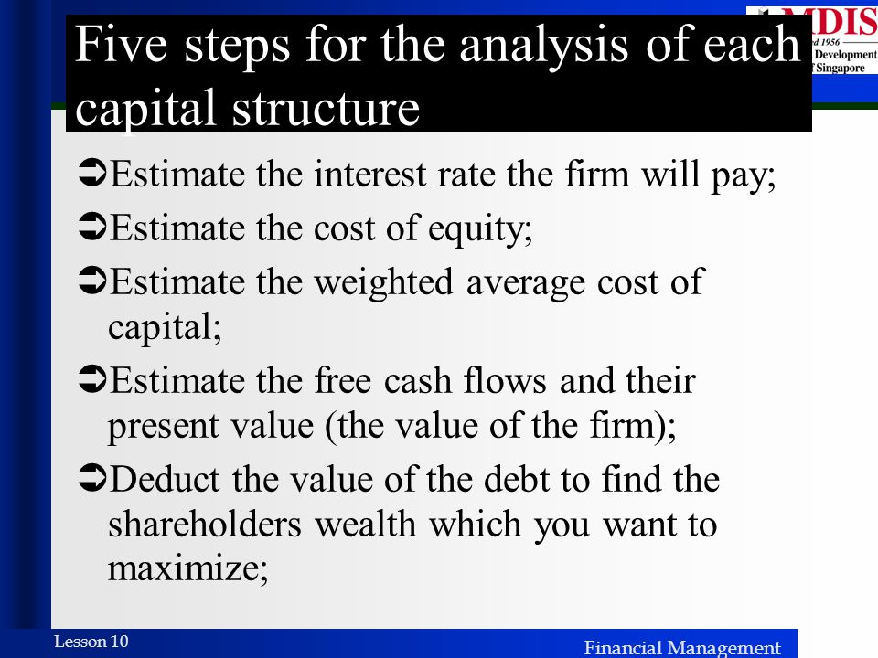 Five steps for the analysis of each capital structure