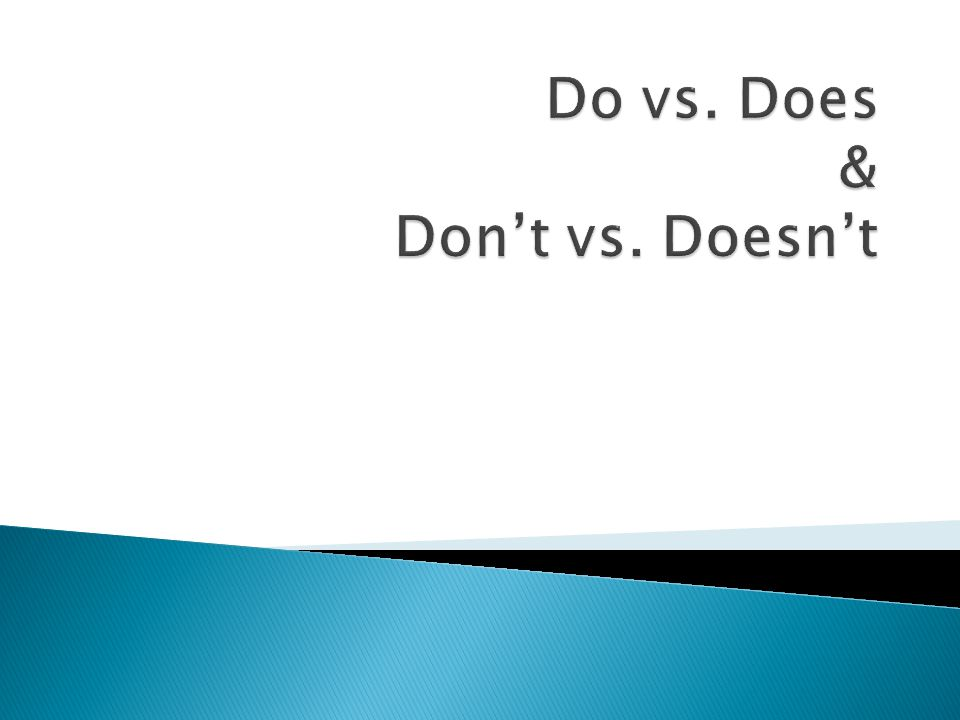 Do vs. Does & Don't vs. Doesn't