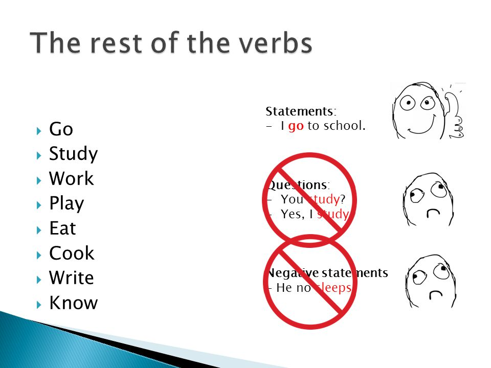 The rest of the verbs Go Study Work Play Eat Cook Write Know
