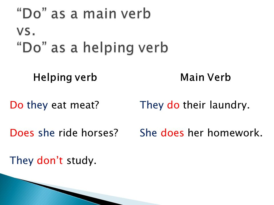 Do as a main verb vs. Do as a helping verb