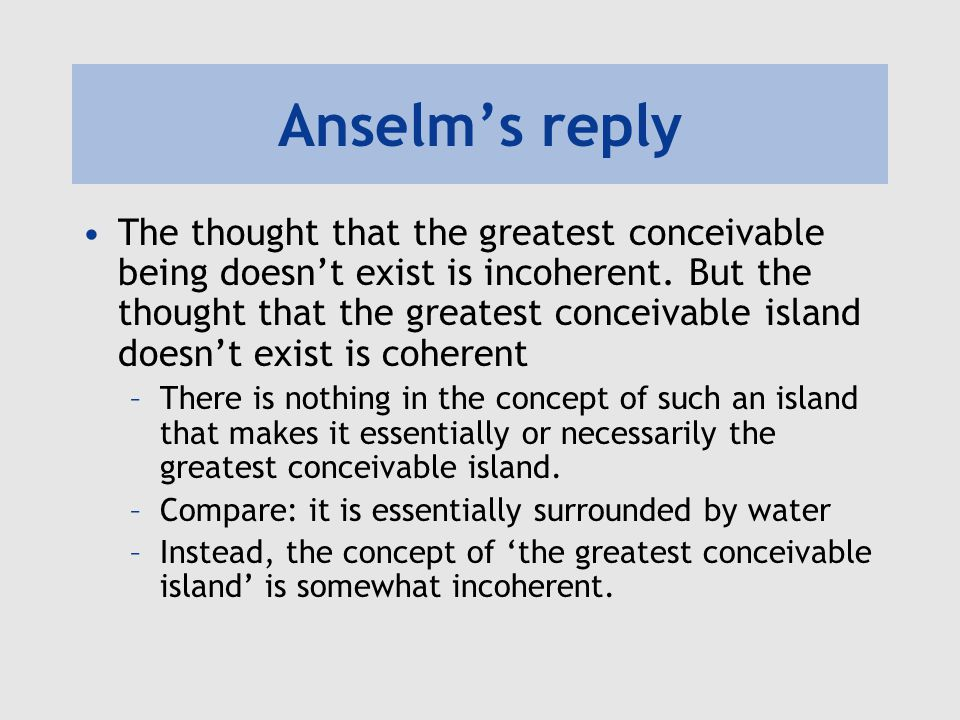 Anselm's reply