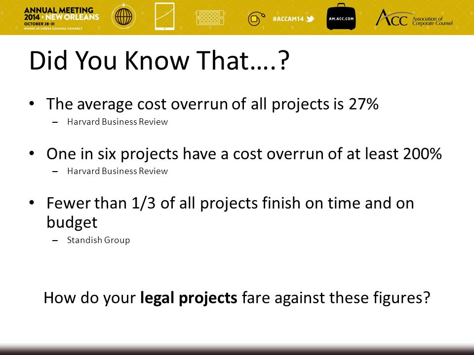 How do your legal projects fare against these figures