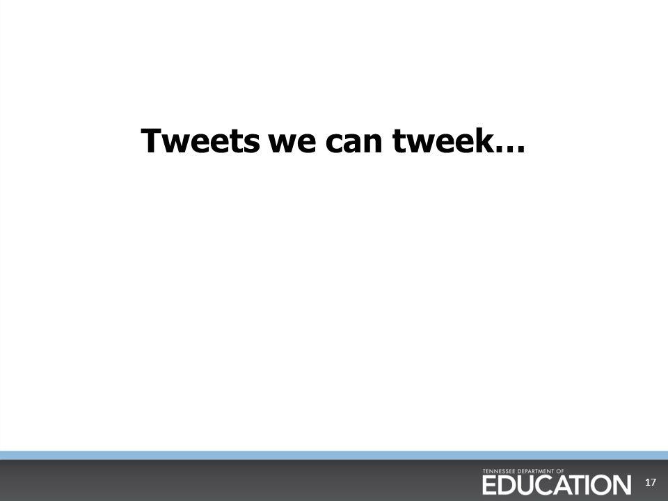 Tweets we can tweek…