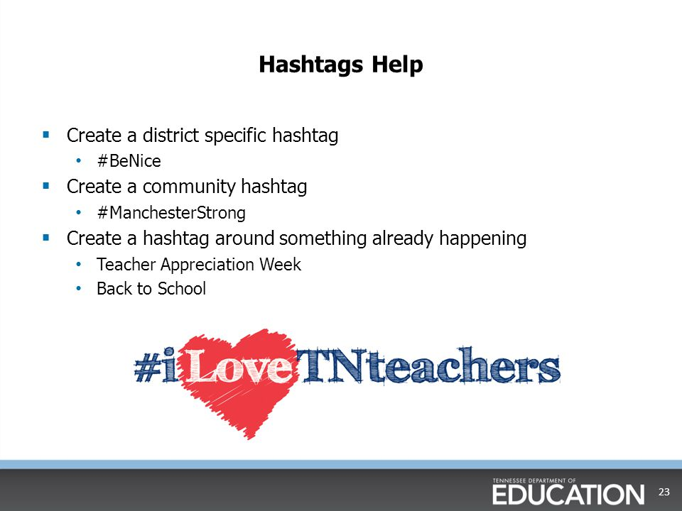 Hashtags Help Create a district specific hashtag