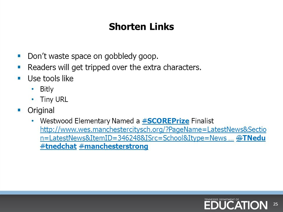 Shorten Links Don't waste space on gobbledy goop.