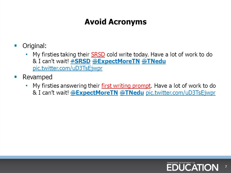 Avoid Acronyms Original: Revamped