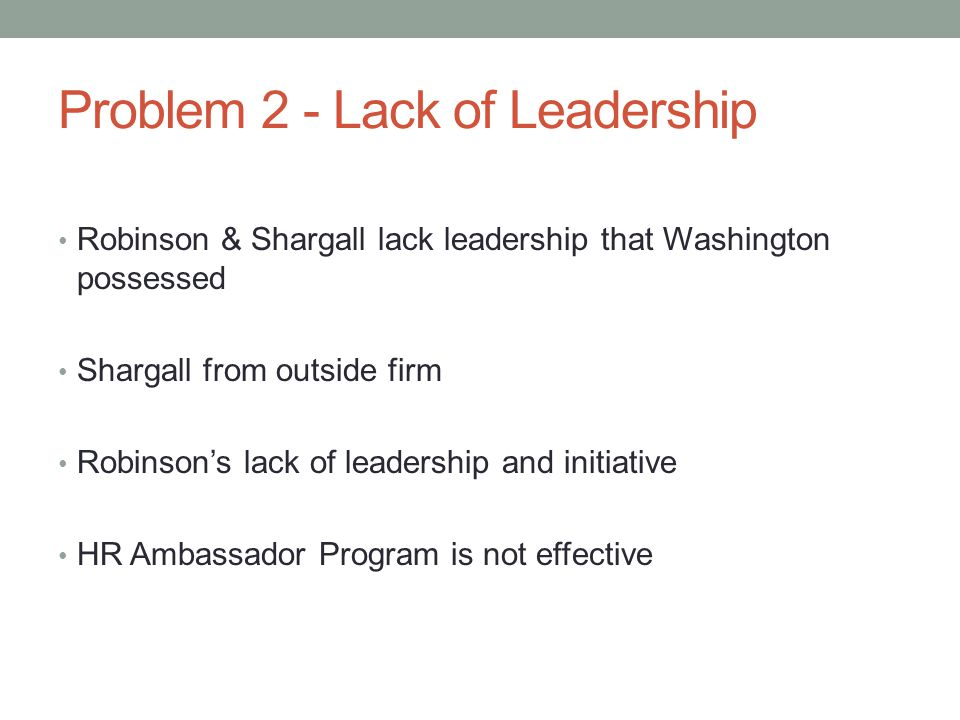 Problem 2 - Lack of Leadership