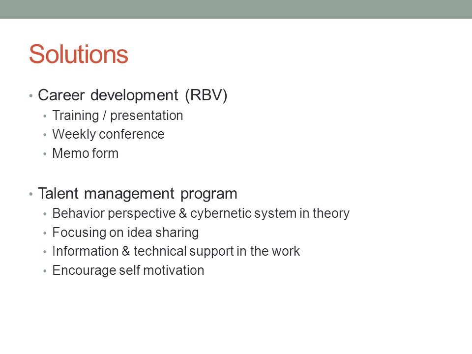 Solutions Career development (RBV) Talent management program