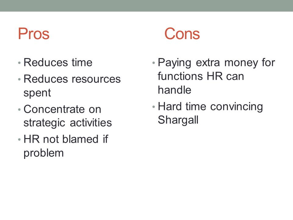 Pros Cons Reduces time Reduces resources spent