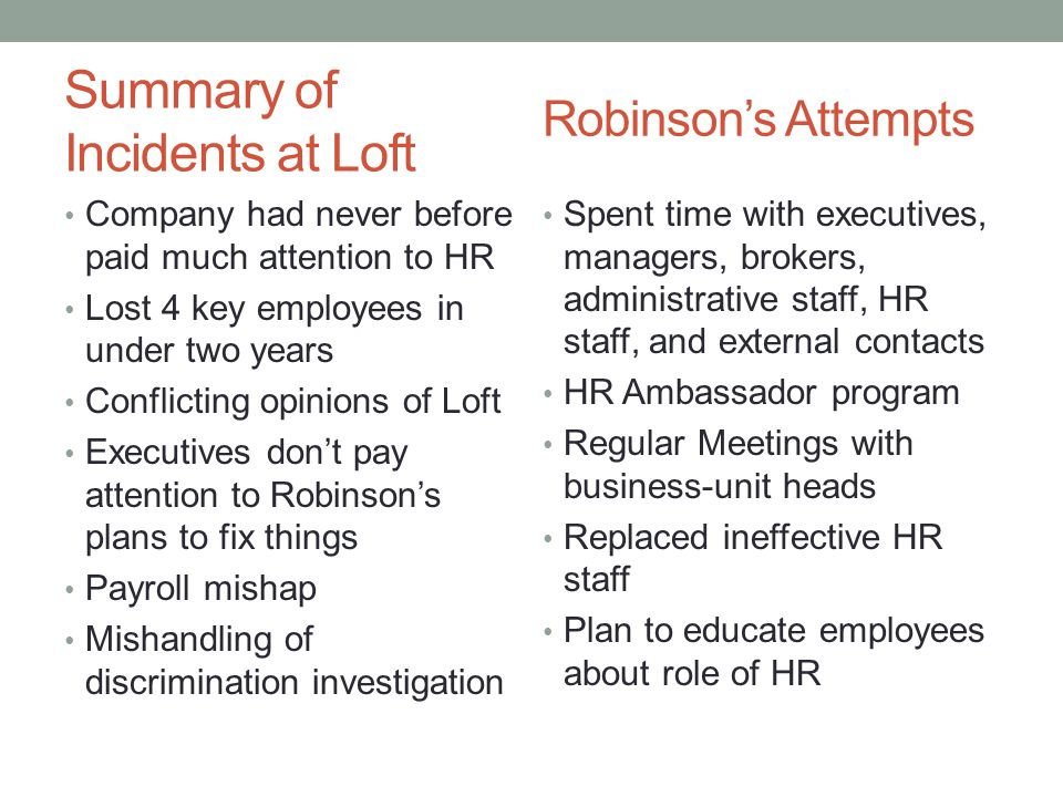Summary of Incidents at Loft