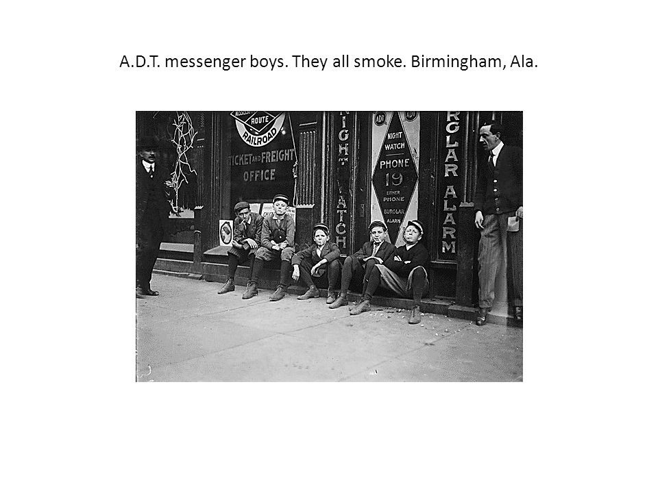 A.D.T. messenger boys. They all smoke. Birmingham, Ala.