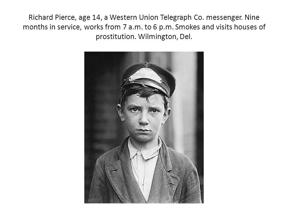 Richard Pierce, age 14, a Western Union Telegraph Co. messenger