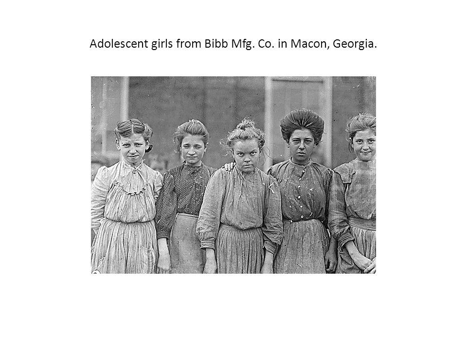 Adolescent girls from Bibb Mfg. Co. in Macon, Georgia.