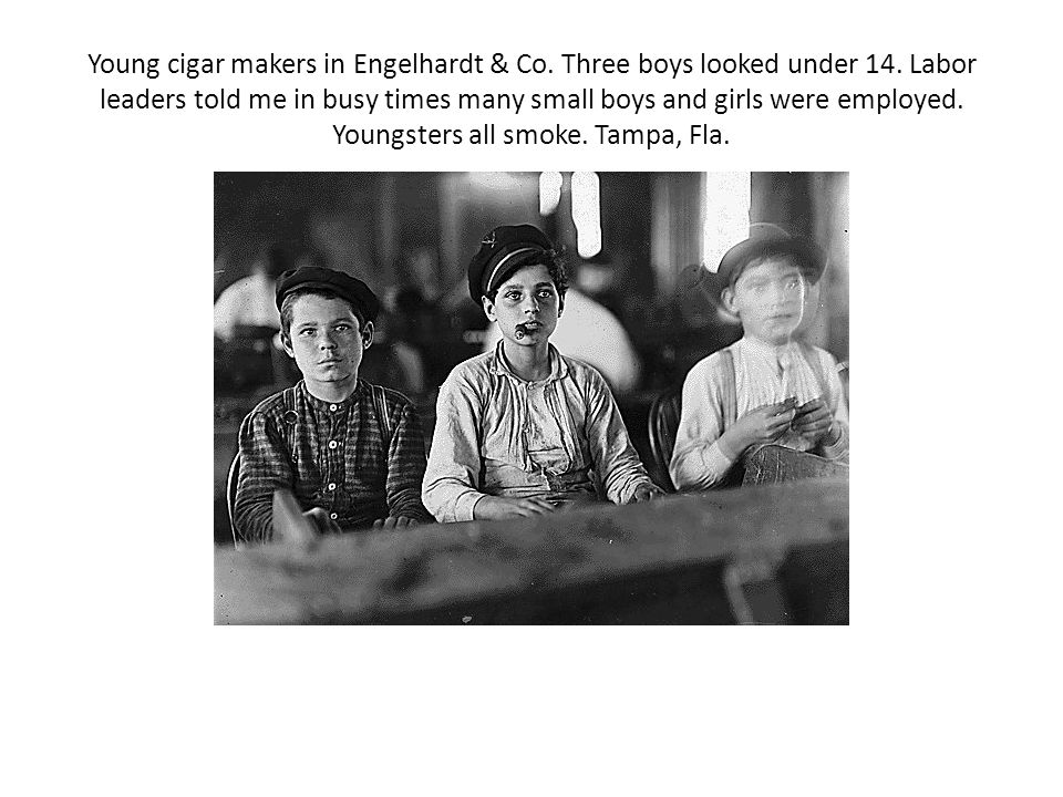 Young cigar makers in Engelhardt & Co. Three boys looked under 14