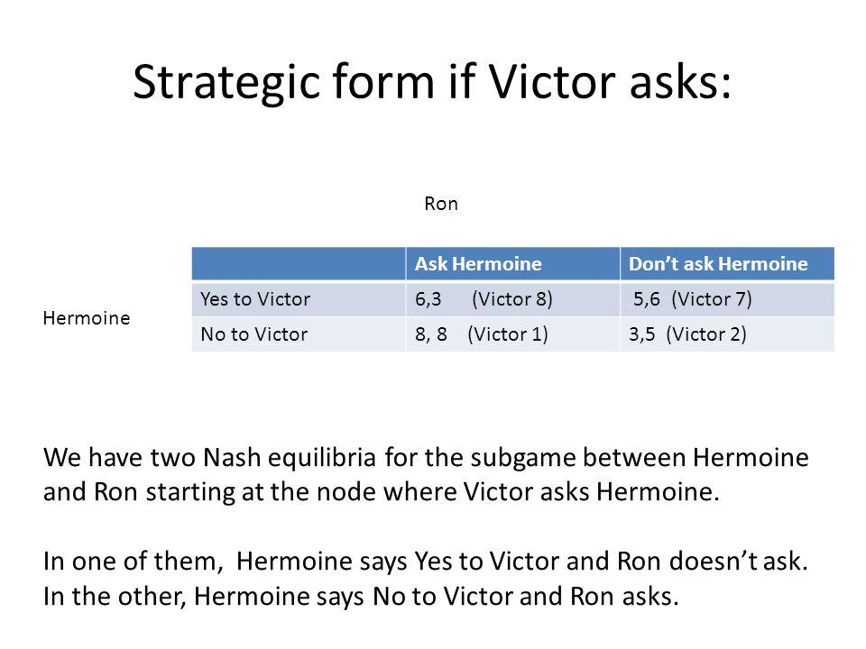 Strategic form if Victor asks: