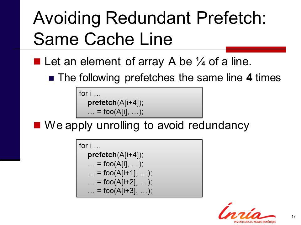 Avoiding Redundant Prefetch: Same Cache Line