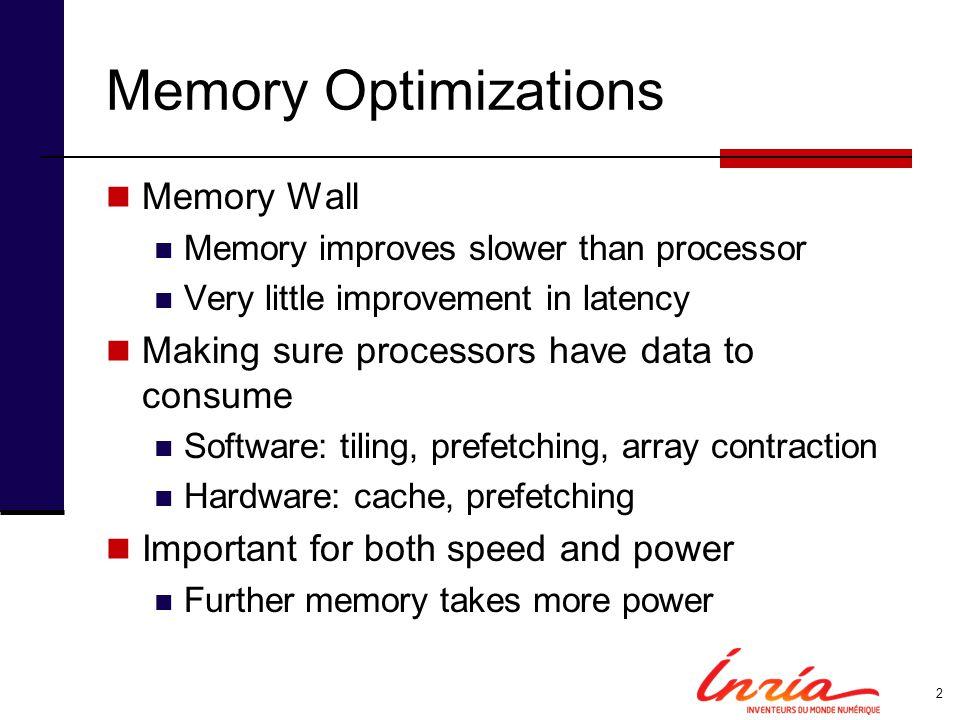 Memory Optimizations Memory Wall