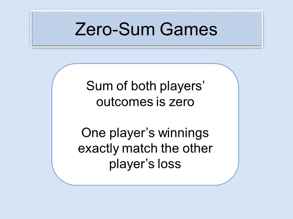 Zero-Sum Games Sum of both players' outcomes is zero