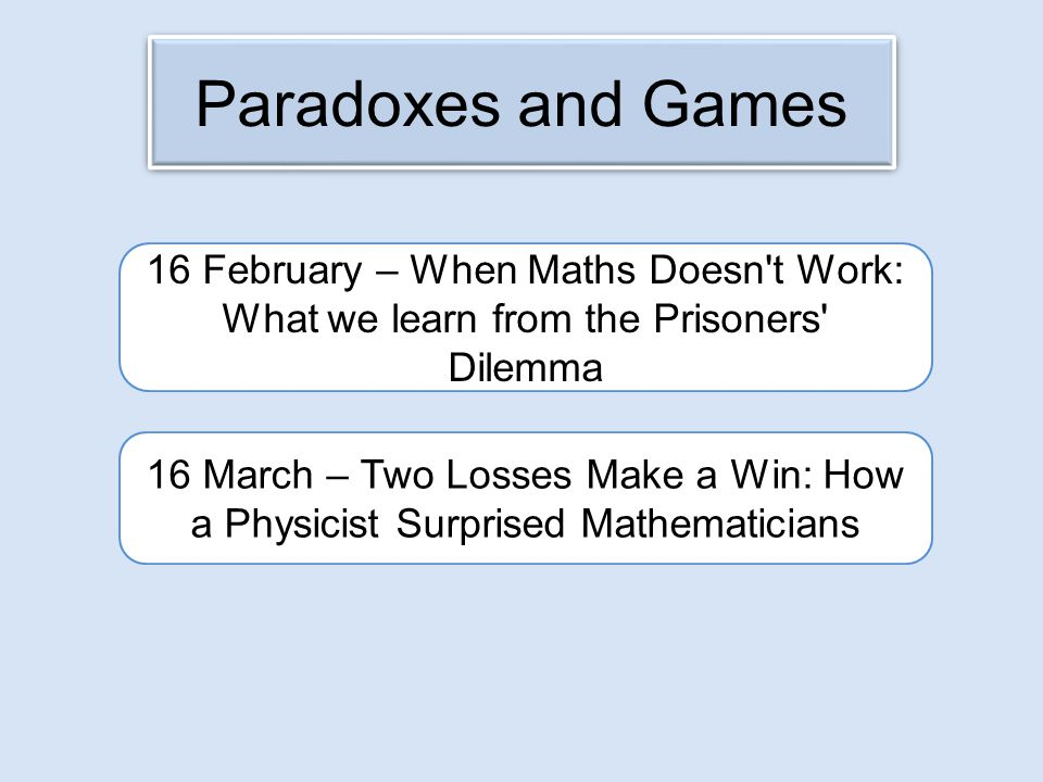 Paradoxes and Games 16 February – When Maths Doesn t Work: What we learn from the Prisoners Dilemma.