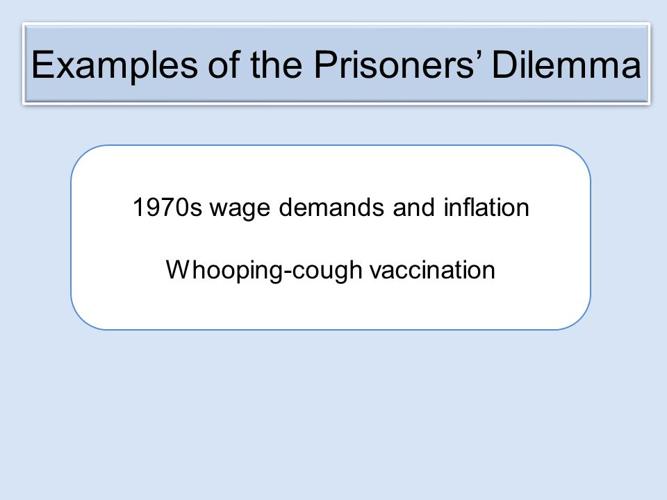 Examples of the Prisoners' Dilemma