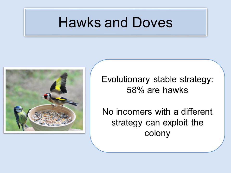Hawks and Doves Evolutionary stable strategy: 58% are hawks