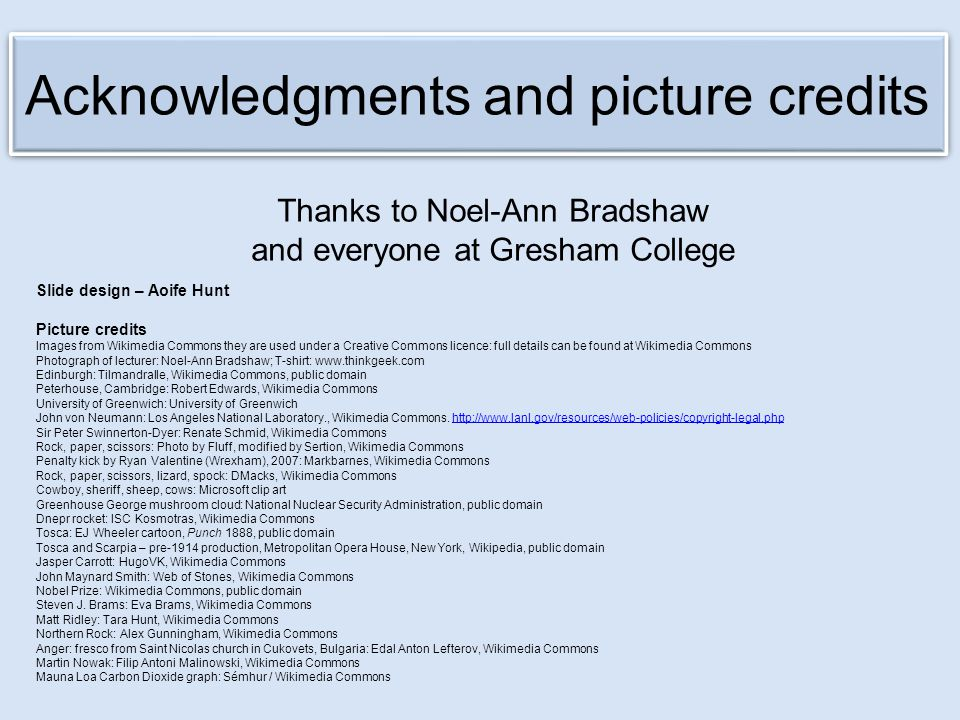 Acknowledgments and picture credits