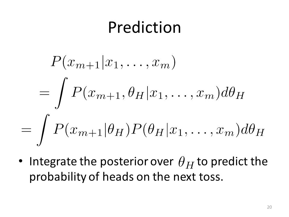 Prediction Integrate the posterior over to predict the probability of heads on the next toss.