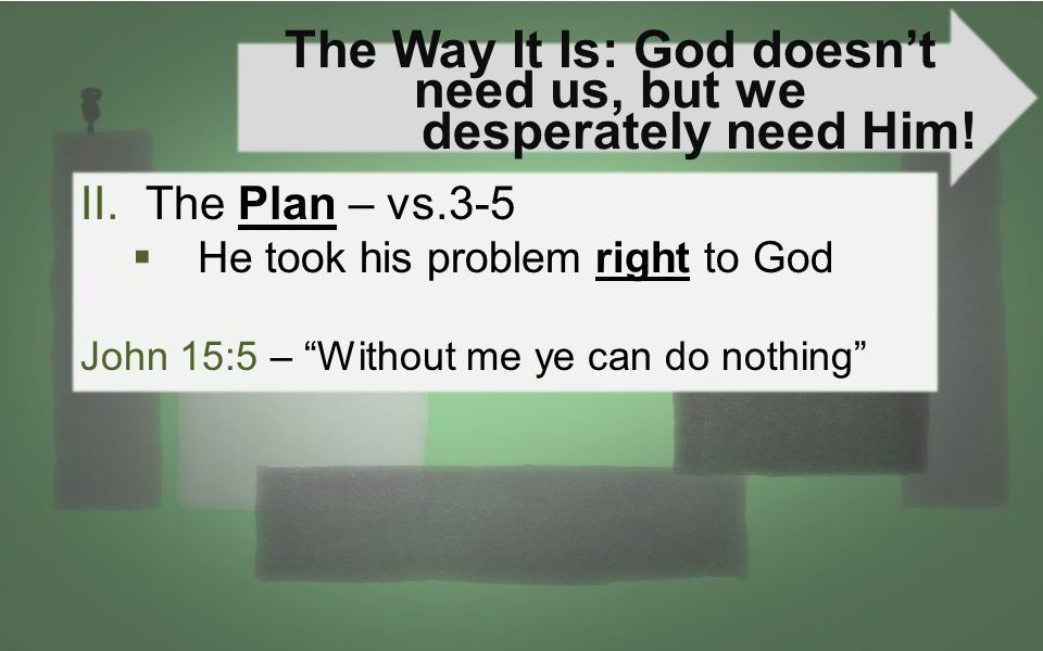 The Way It Is: God doesn't need us, but we