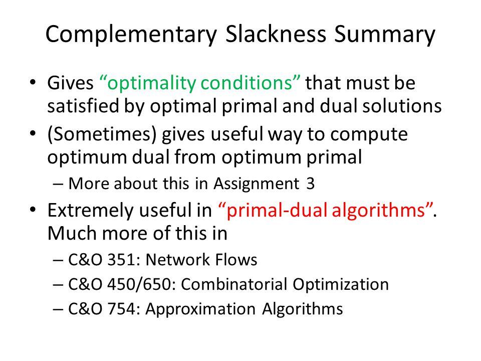 Complementary Slackness Summary