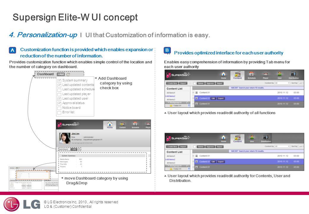 Supersign Elite-W UI concept