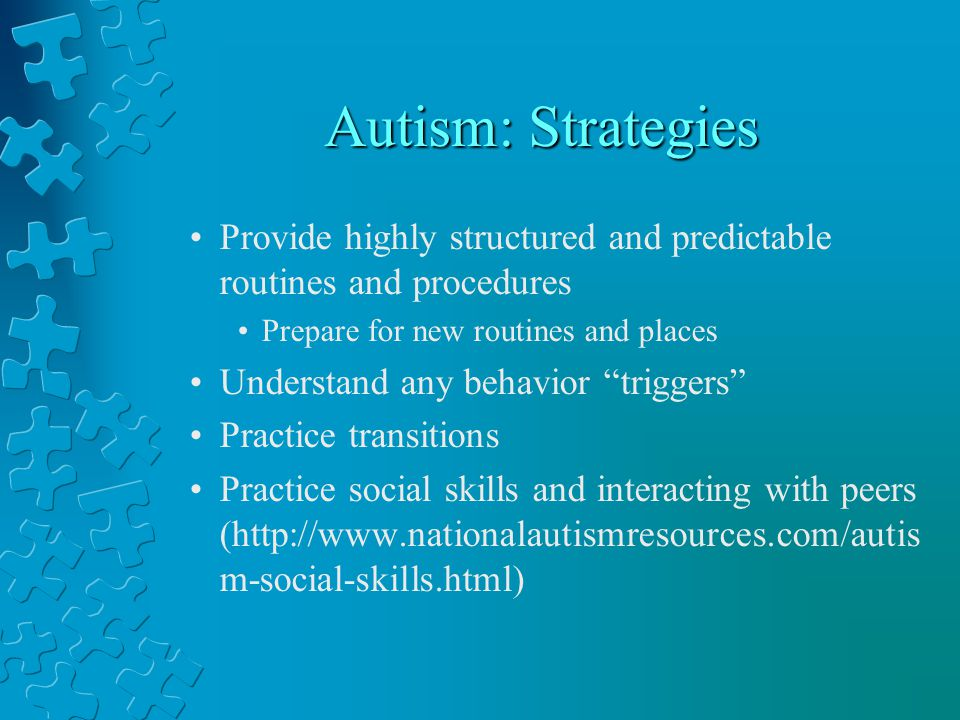 Autism: Strategies Provide highly structured and predictable routines and procedures. Prepare for new routines and places.