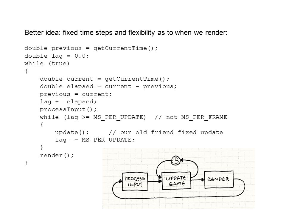Better idea: fixed time steps and flexibility as to when we render: