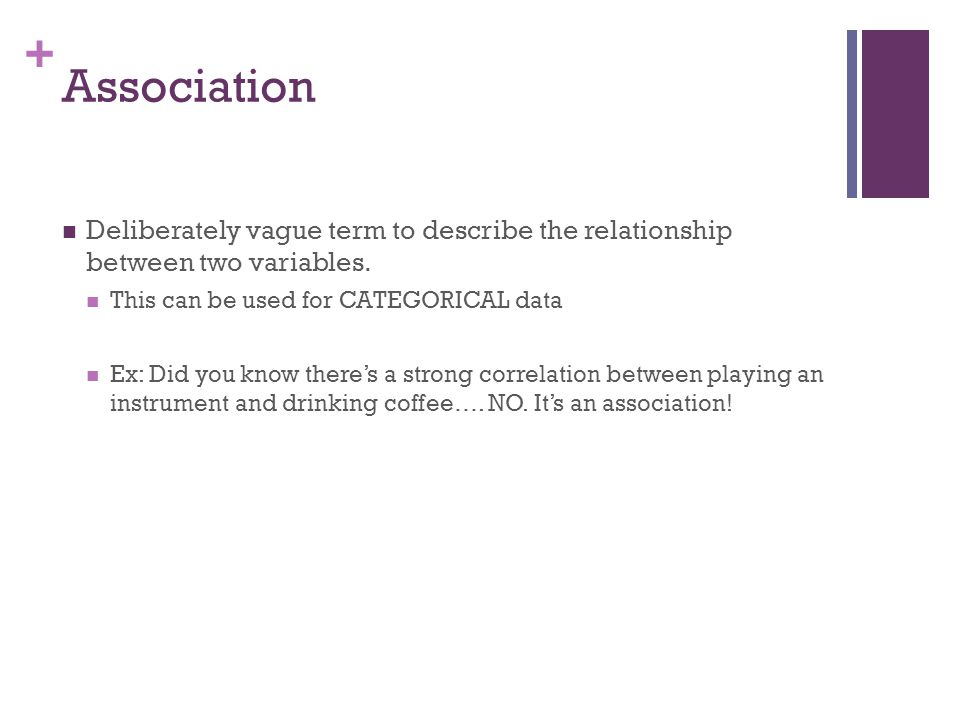 Association Deliberately vague term to describe the relationship between two variables. This can be used for CATEGORICAL data.